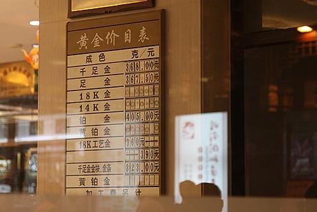 金を販売している店頭(写真は上海です)