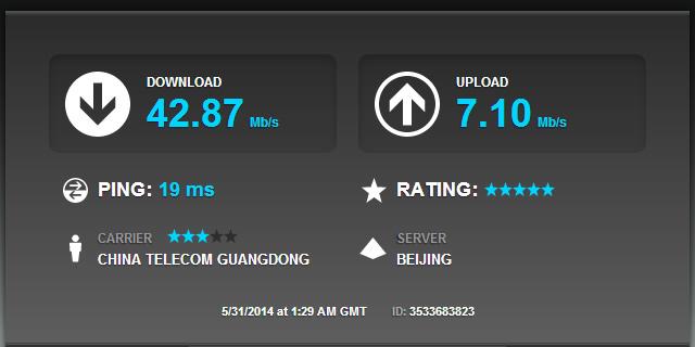 中国電信の4Gのスピードテスト: 北京師範大学のサーバとの通信