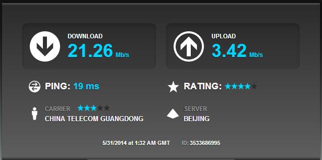 中国電信の4Gのスピードテスト: 北京電信のサーバとの通信
