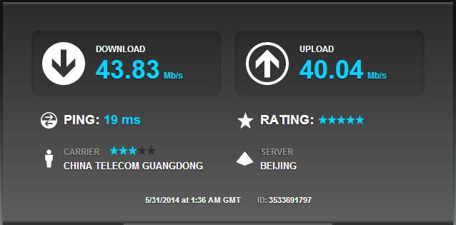 中国電信の4Gのスピードテスト: 北京電信のサーバとの通信(別サーバ)