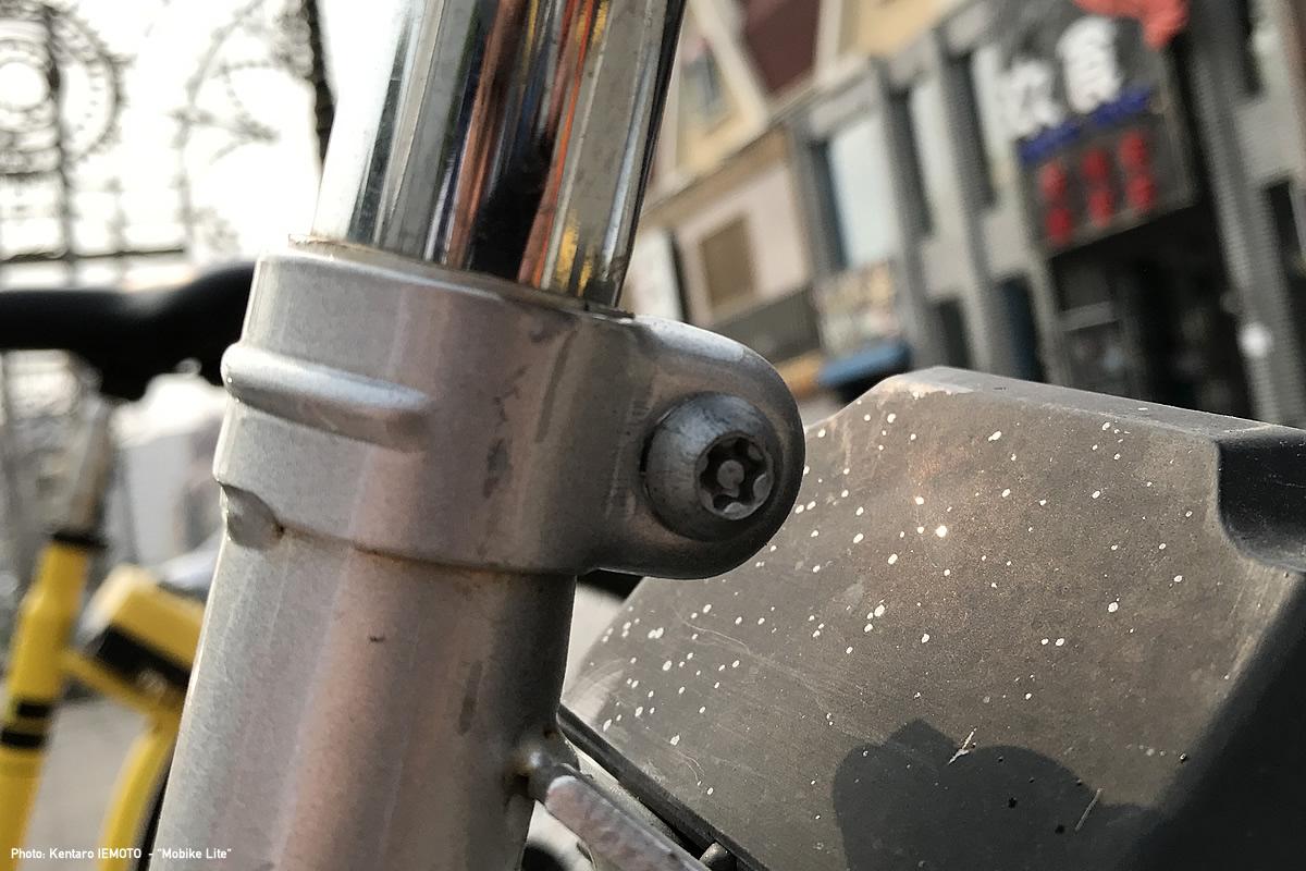 ヘクサロビュラ型のピン付きボタンボルトが使われている